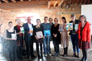 From left to right: Liz Bankes (Catnip Books); Liz Laird (Little Rebels Judge/Panel Chair); author Bernard Ashley; author Jessica Shepherd; author Chris Haughton; Wendy Cooling (Little Rebels Judge/Award Presenter); Natalie Bennett (Green Party Leader); author Mel Elliott; Janetta Otter-Barry (Otter Barry Books/Frances Lincoln); author Anne Booth